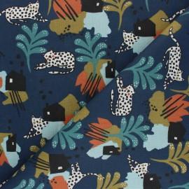 Cretonne cotton Fabric - navy blue Irbis x 10cm