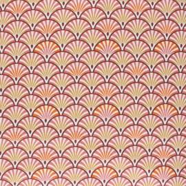Coated cretonne cotton fabric - marsala Yona x 10cm