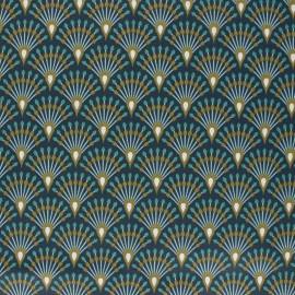 Tissu coton cretonne enduit Ginza - bleu nuit x 10cm