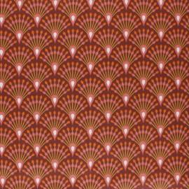 Coated cretonne cotton fabric - plum Ginza x 10cm