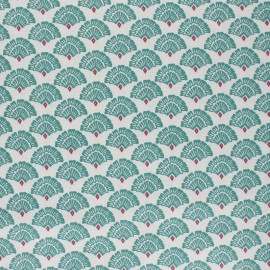 Coated cretonne cotton fabric - green Mayur x 10cm