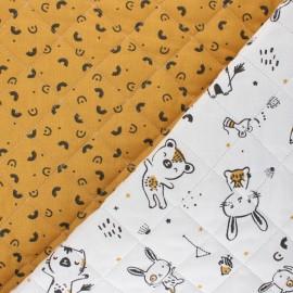 Quilted cotton fabric - beige Tamias/Modino x 10cm