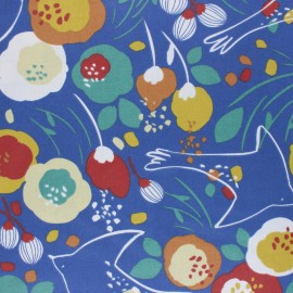 Coated cretonne cotton fabric - blue Kibird x 10cm