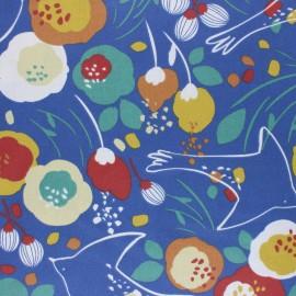 Tissu coton cretonne enduit Kibird - bleu x 10cm