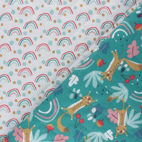 Quilted cotton fabric - green Loustic/Poltex x 10cm