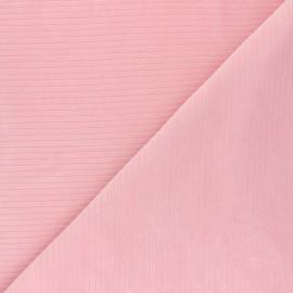 Ribbed velvet jersey fabric - tea pink x 10cm