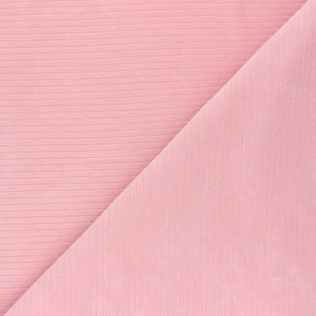 Ribbed velvet jersey fabric - tea pink x 10cm