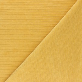 Ribbed velvet jersey fabric - mustard x 10cm