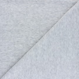 Ribbed velvet jersey fabric - mottled grey x 10cm