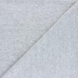 Tissu jersey velours côtelé - gris chiné x 10cm