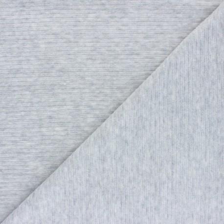 Ribbed velvet jersey fabric - mottled grey x 10cm