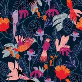 Tissu Rayonne Dashwood studio Gardenia D - bleu marine x 10cm