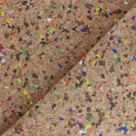 Cork fabric - natural Confettis x 10cm