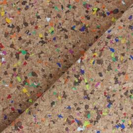 Simili cuir aspect Liège Confettis - naturel x 10cm