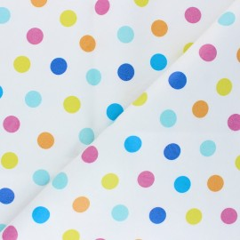 Imitation leather - white Dots x 10cm