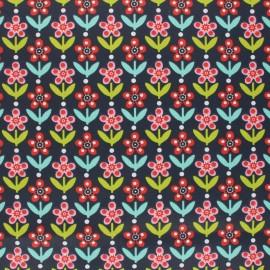 Coated cretonne cotton fabric - dark blue Floral Garden x 10cm