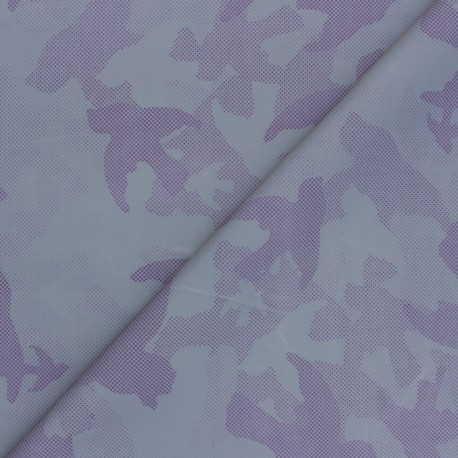 Reflective polyester fabric - purple Camouflage x 10cm