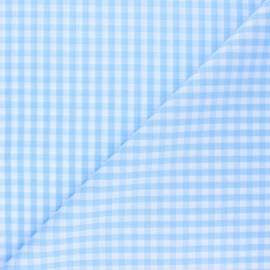 Checked gingham fabric - sky blue x 10cm