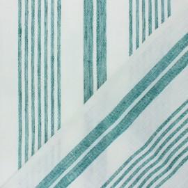 Tissu torchon lin rayé - vert x 10cm