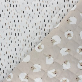 Quilted cotton fabric - white  Joli mouton/ Dash  x 10cm