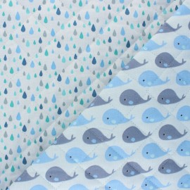 Quilted cotton fabric - blue Petite baleine/ Gouttes x 10cm
