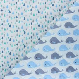 Tissu matelassé Réversible Petite baleine/Gouttes - bleu x 10cm