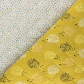 Tissu matelassé Réversible Hérisson/ Piselli - jaune x 10cm