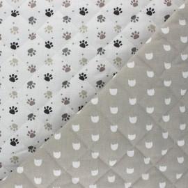 Tissu matelassé Réversible Patoune/ Mistigri - blanc x 10cm