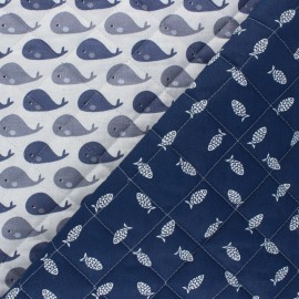 Quilted cotton fabric - navy blue Petite baleine/ Fishies x 10cm
