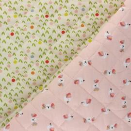 Tissu matelassé Réversible Piou/ Evalia - rose x 10cm