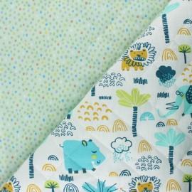 Tissu matelassé Réversible Hippopo/ Piselli - blanc x 10 cm