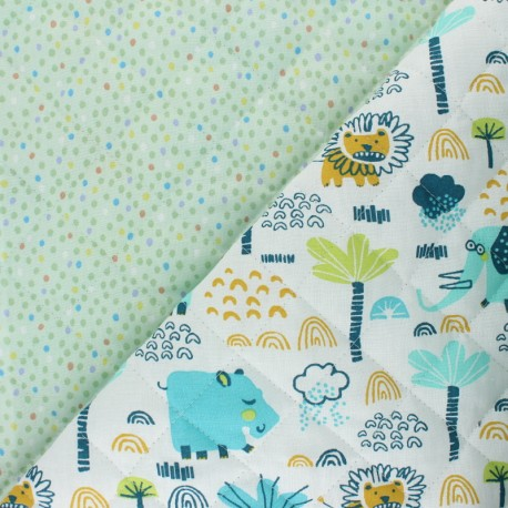 Quilted cotton fabric - white Hippopo/ Piselli x 10cm