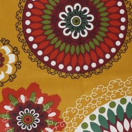 Tissu coton cretonne enduit Calimo - jaune moutarde x 10cm