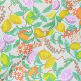 Tissu coton sergé enduit  Summer citronnade - écru x 10cm