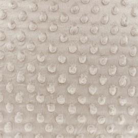 Tissu Velours minkee doux relief à pois - sable x 10cm