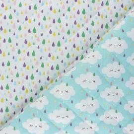 Quilted cotton fabric - blue Jour de pluie/ Gouttes x 10cm