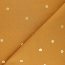 Cotton fabric Rico Design - mustard yellow Golden dots x 10cm