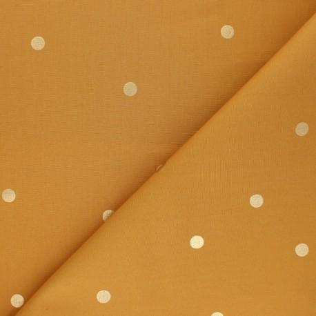 Cotton fabric Rico Design - mustard yellow Golden dots x 10cm