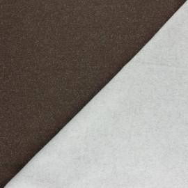 Tissu sweat léger Molletonné Pailleté - Marron x 10cm