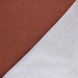 Tissu sweat léger Molletonné Pailleté - Citrouille x 10cm