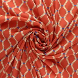 Polyester satin fabric - orange Talia x 10cm