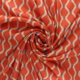 Tissu satin polyester Talia - orange x 10cm
