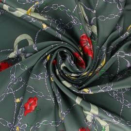 Tissu satin polyester Gibraltar - vert x 10cm