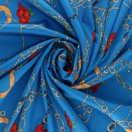Tissu satin polyester Gibraltar - bleu x 10cm