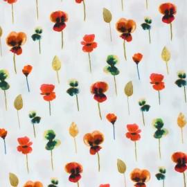 Viscose Fabric - white Poppies x 10cm