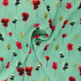 La Maison Victor Viscose Fabric - sea green Poppies x 10cm