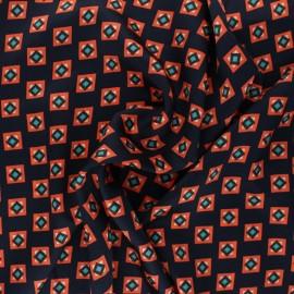 Tissu satin polyester Zany  - bleu marine x 10cm