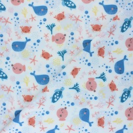 Swimsuit Lycra fabric - white Sous l'océan x 10cm