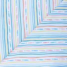 Tissu Lycra Maillot de bain Pêche à la ligne - blanc x 10cm