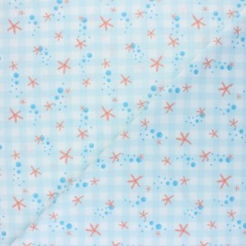 Swimsuit Lycra fabric - blue Sea star x 10cm